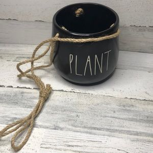 Rae Dunn PLANT black hanging planter NEW!